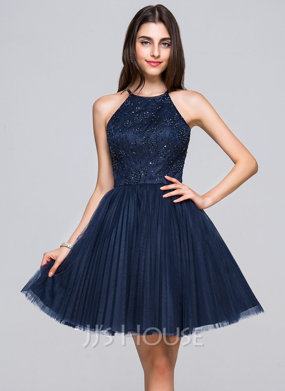 ALinePrincess Scoop Neck ShortMini Tulle Lace Homecoming Dress With Beading Sequins Bows