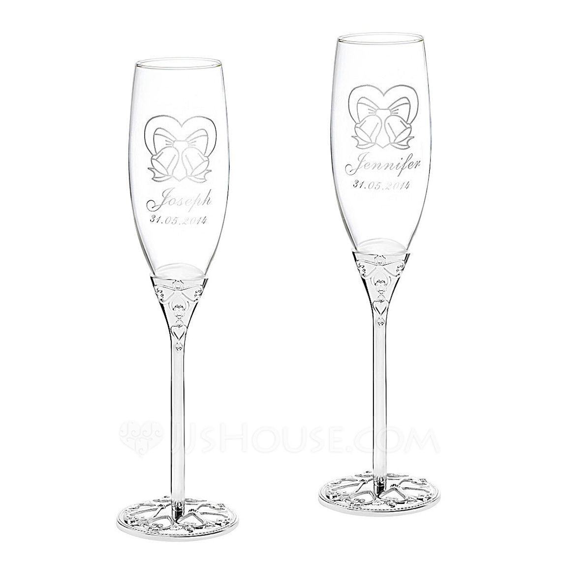 Personalized Bells Glass Aluminum Toasting Flutes Set Of