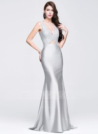Trumpet/Mermaid Scoop Neck Sweep Train Jersey Prom Dresses ...