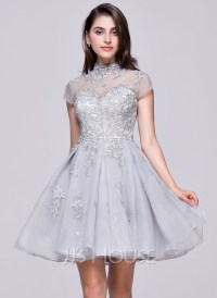 A-Line/Princess High Neck Short/Mini Organza Tulle ...