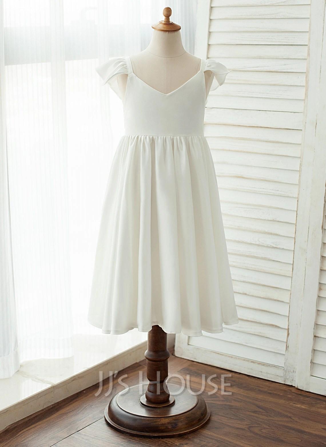 Tea Length Flower Girl Dress ChiffonSatin Sleeveless V