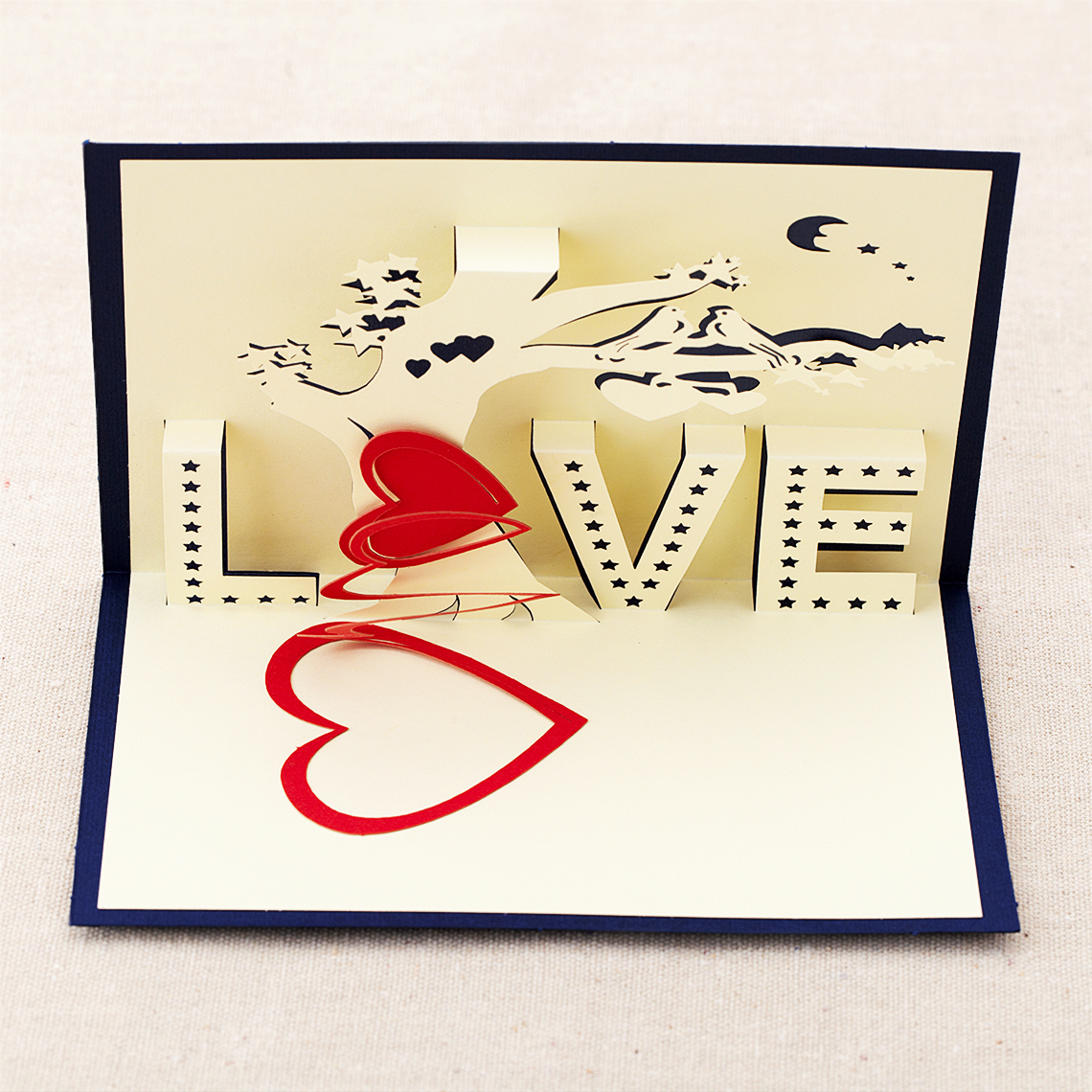 Three Dimensional Tree Of Love Greeting Cards