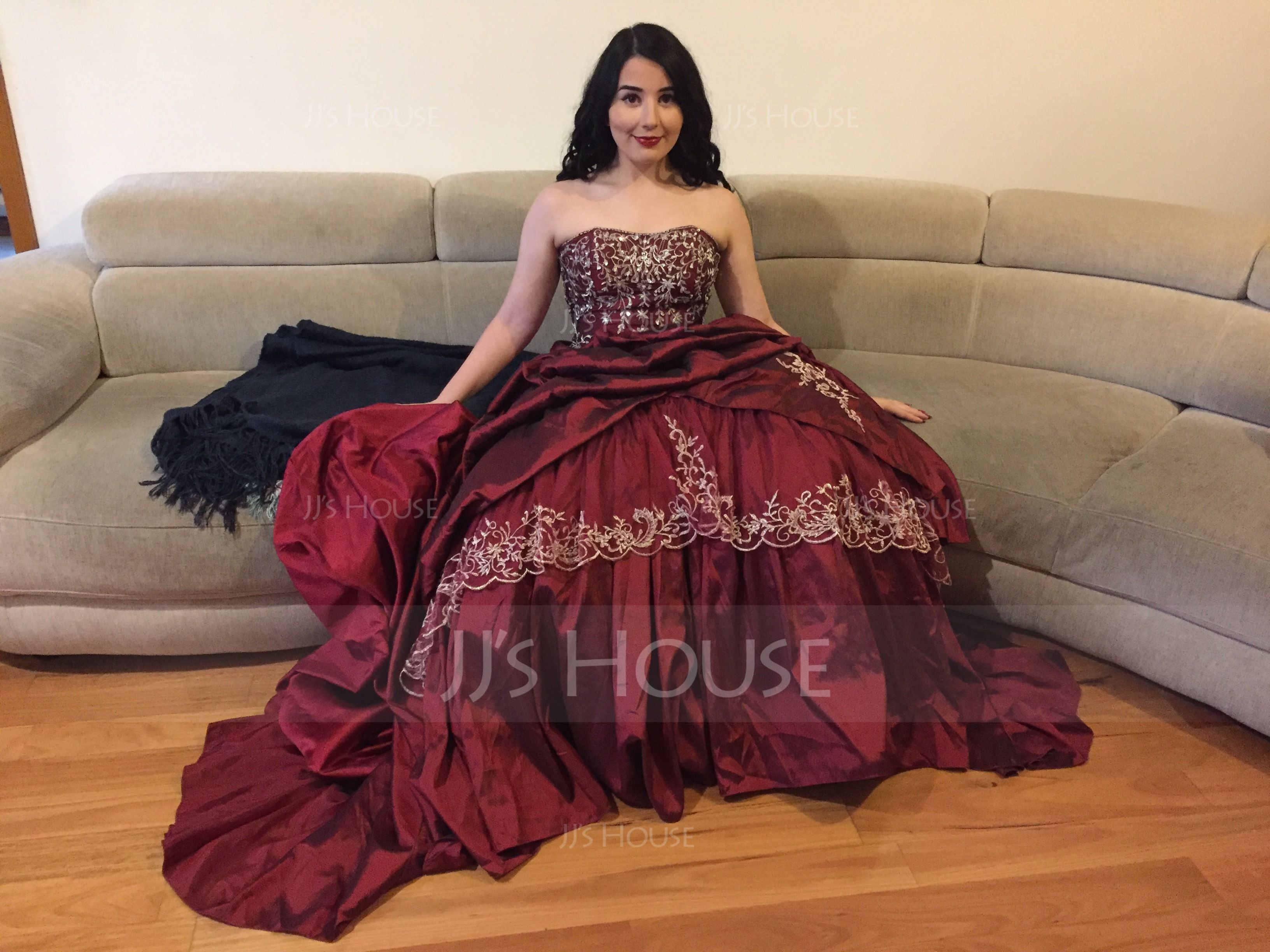 Ball-Gown Sweetheart Royal Train Taffeta Wedding Dress