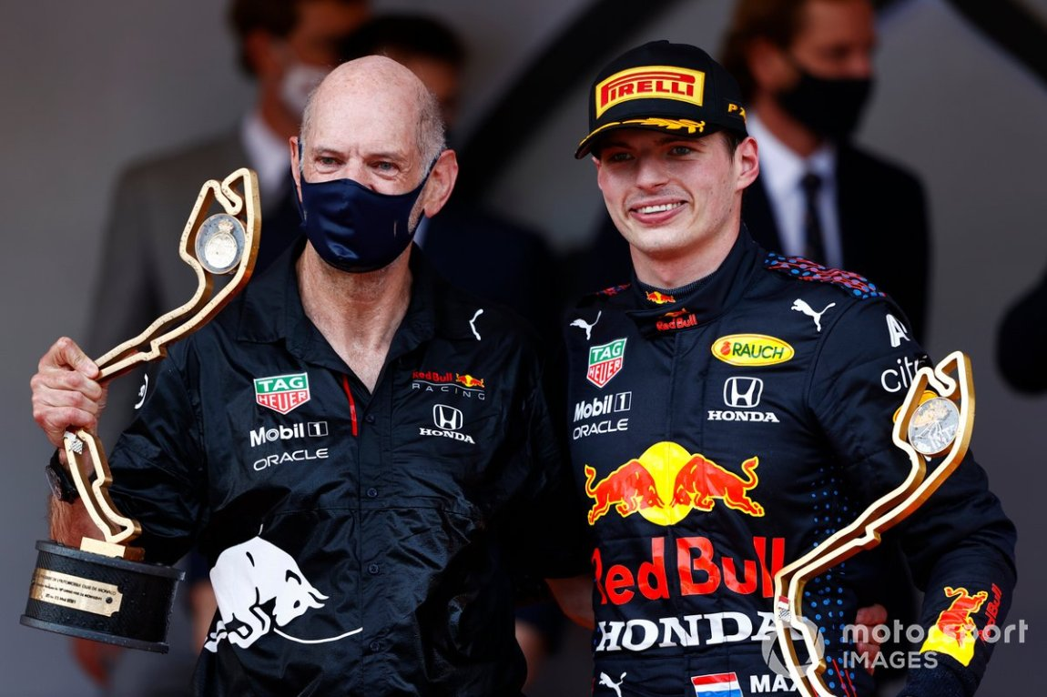 Adrian Newey, Chief Technical Officer, Red Bull Racing, and Max Verstappen, Red Bull Racing, 1st position, with the winning Constructors and Drivers trophies