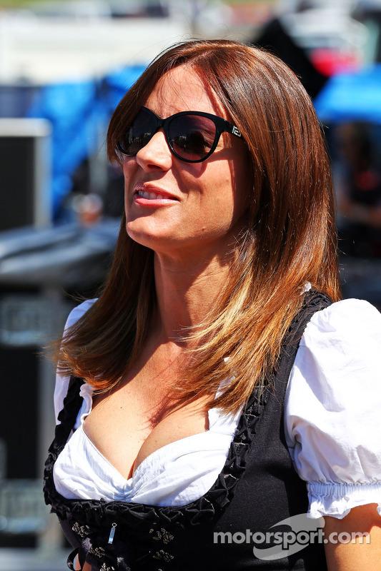 Natalie Pinkham, Sky Sports Presenter in traditional Austrian costume at Austrian GP