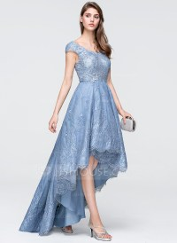 A-Line/Princess V-neck Asymmetrical Tulle Lace Prom ...