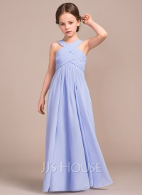 A-Line/Princess V-neck Floor-Length Chiffon Junior ...