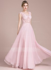 A-Line/Princess V-neck Floor-Length Chiffon Prom Dress ...