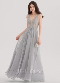 A-Line/Princess V-neck Floor-Length Chiffon Prom Dresses ...