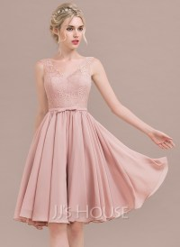 A-Line/Princess V-neck Knee-Length Chiffon Lace Bridesmaid ...
