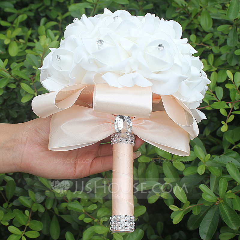 Round Satin Bridal Bouquets Sold in a single piece  123129740  Wedding Flowers  JJs House
