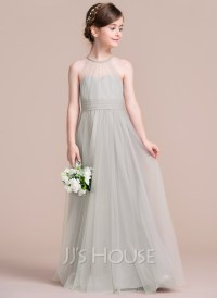 A-Line/Princess Scoop Neck Floor-Length Tulle Junior ...