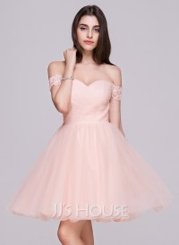 A-Line/Princess Off-the-Shoulder Short/Mini Tulle ...