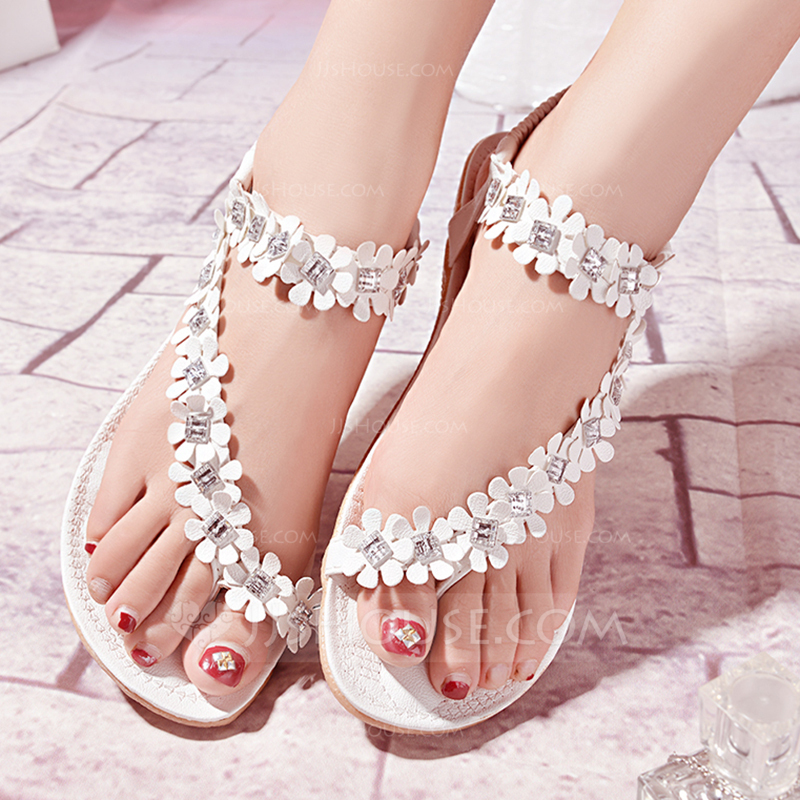 Womens Leatherette Flat Heel Flats Sandals Beach Wedding
