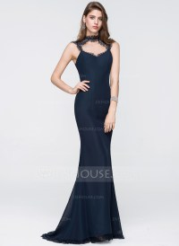Trumpet/Mermaid Scoop Neck Sweep Train Chiffon Prom ...
