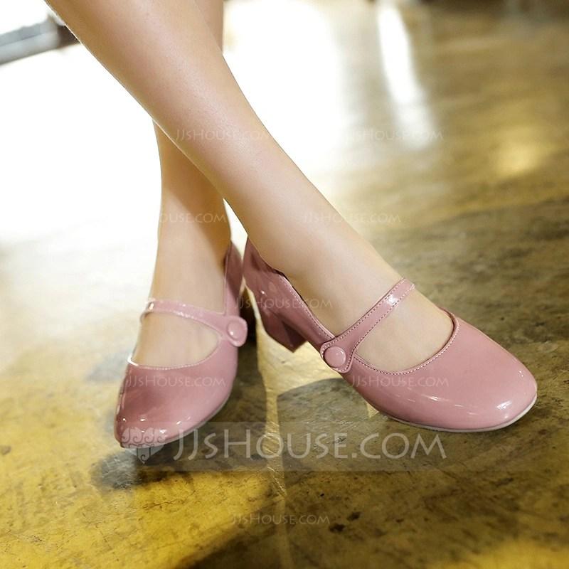 Womens Leatherette Chunky Heel Pumps Closed Toe Mary Jane