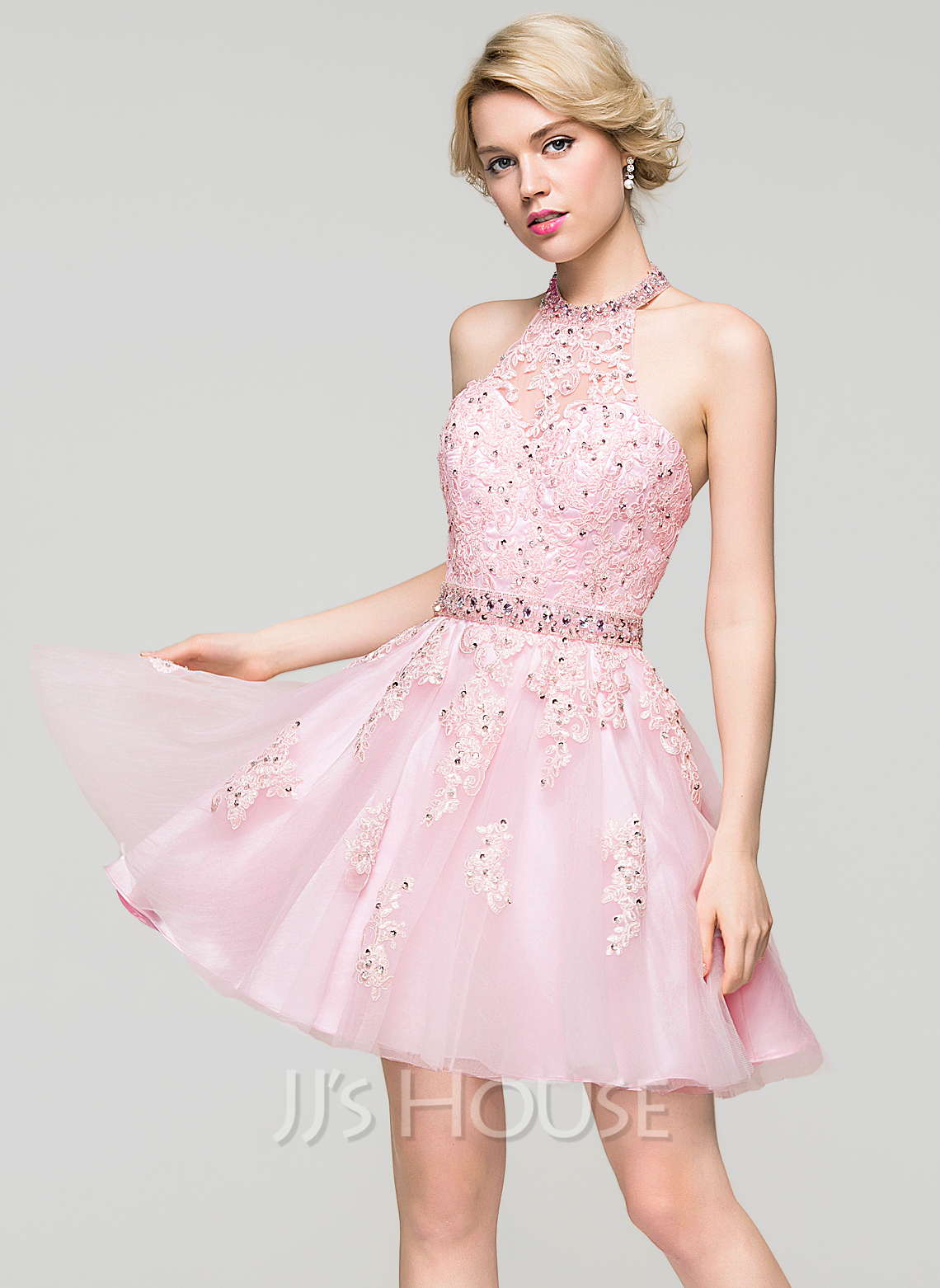 ALinePrincess Halter ShortMini Tulle Lace Homecoming Dress With Beading Sequins 022087602