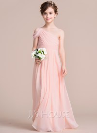 A-Line/Princess One-Shoulder Floor-Length Chiffon Junior ...