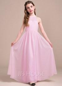 A-Line/Princess Scoop Neck Floor-Length Chiffon Junior ...