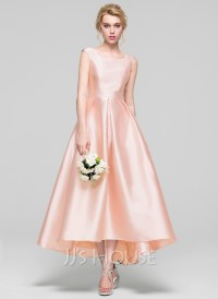 A-Line/Princess Scoop Neck Asymmetrical Satin Bridesmaid ...