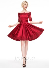 A-Line/Princess Off-the-Shoulder Knee-Length Satin ...