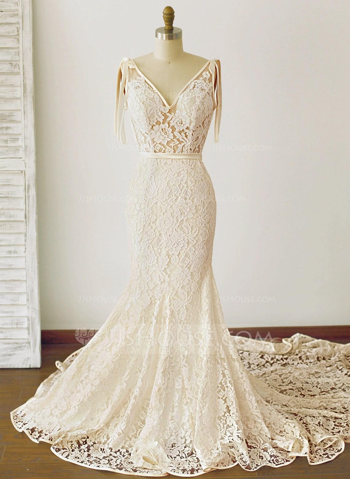 TrumpetMermaid V Neck Royal Train Lace Wedding Dress With