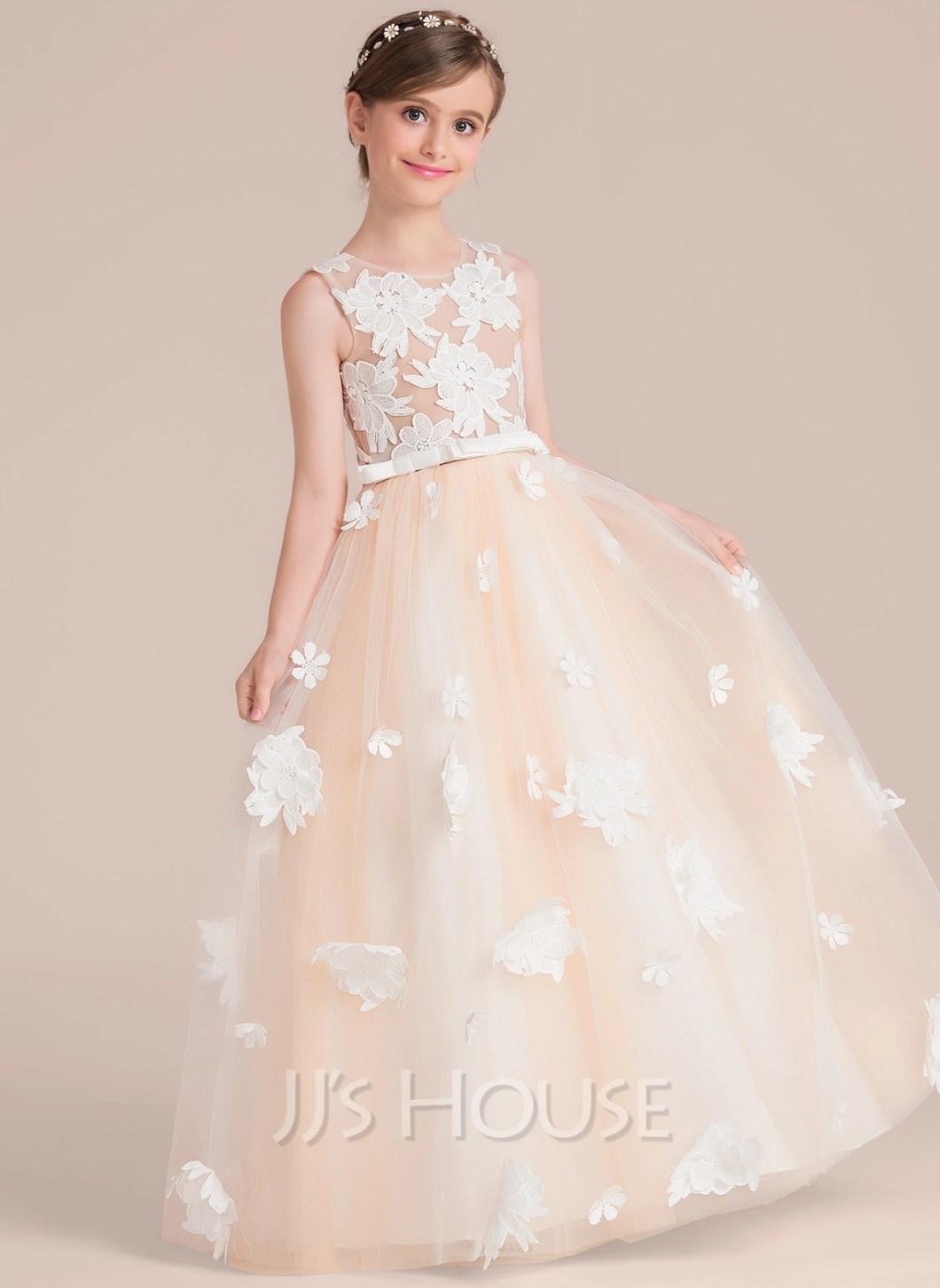 883ef1527dc ... Sleeveless Scoop Loading Zoom. Ball Gown Floor Length Flower Girl Dress  Satin Tulle Lace