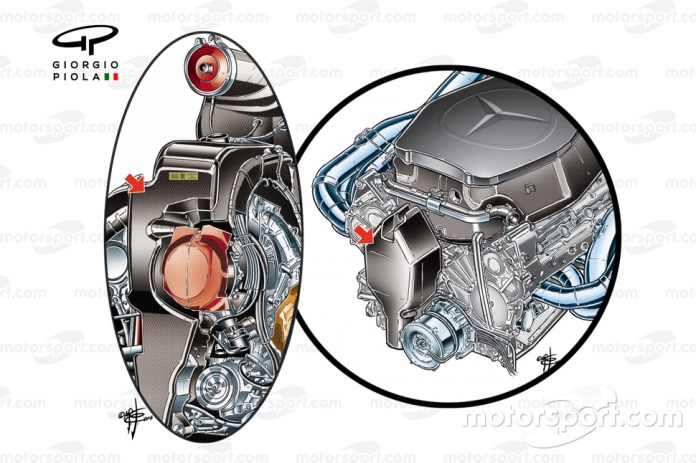 Mercedes V6 power unit oil tank vs V8