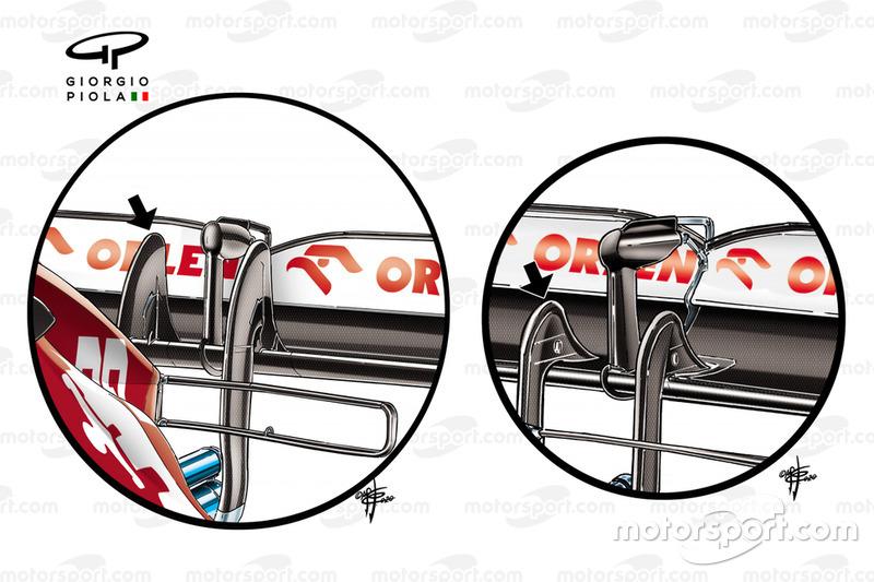 Alfa Romeo Racing C39 rear wing pillar detail comparison