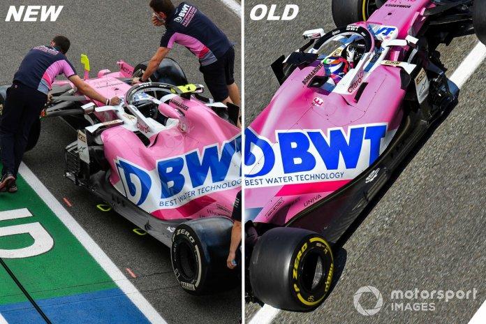Los laterales del RP20 antes y en Mugello.