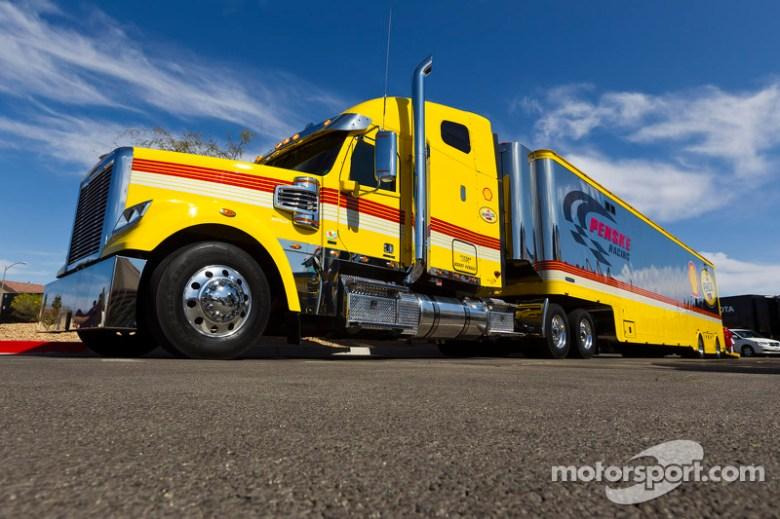 The hauler of A.J. Allmendinger, Penske Racing Dodge at Las Vegas