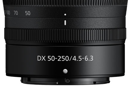 close up of the lens barrel of the NIKKOR Z DX 50-250mm f/4.5-6.3 VR lens