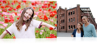 Photo of a young girl in a field of red and pink flowers with the AF points overlay on the image as illustration,   and a photo of a couple with the AF points overlay on the photo as illustration