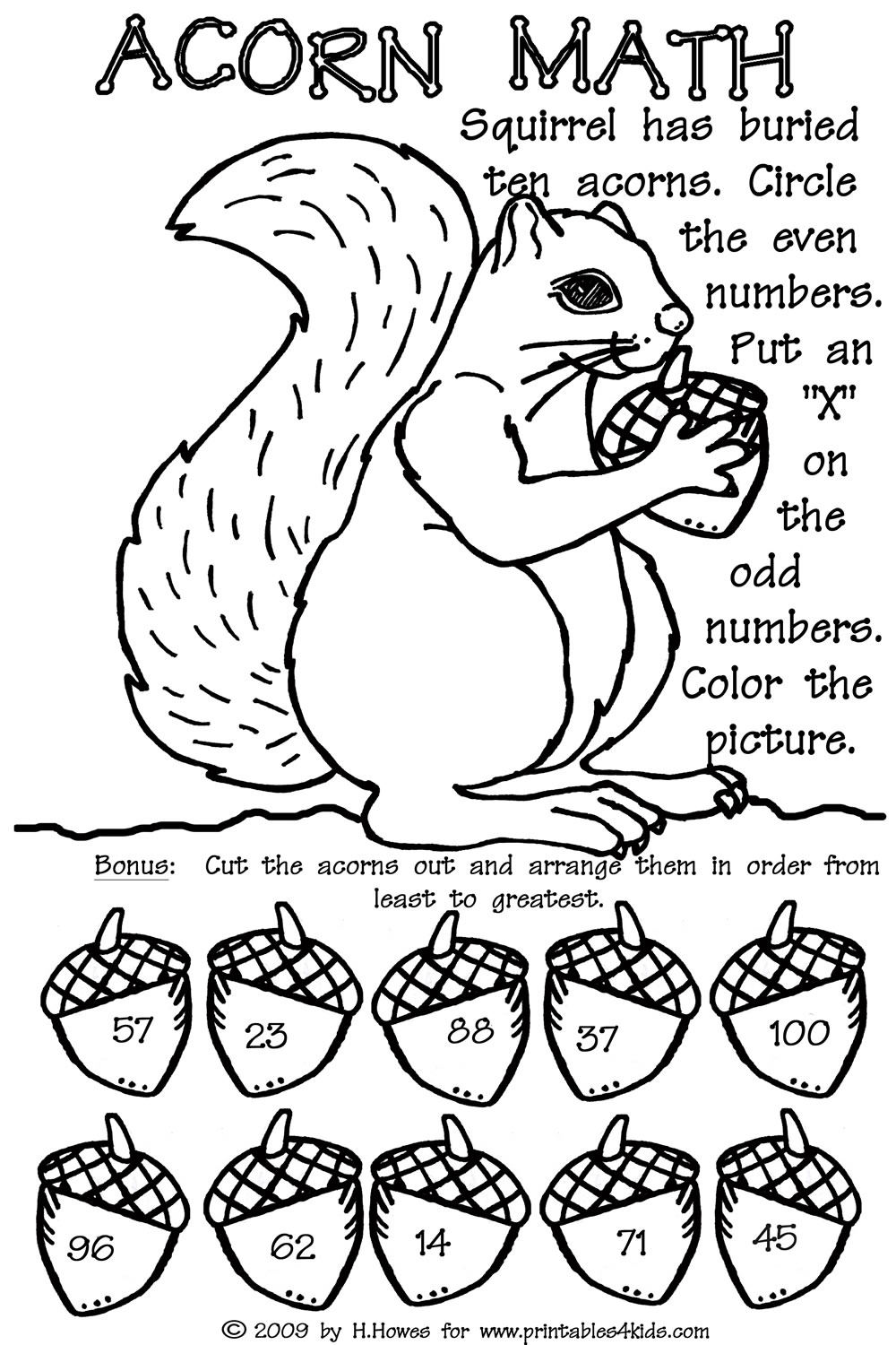 Free coloring pages of even number worksheet