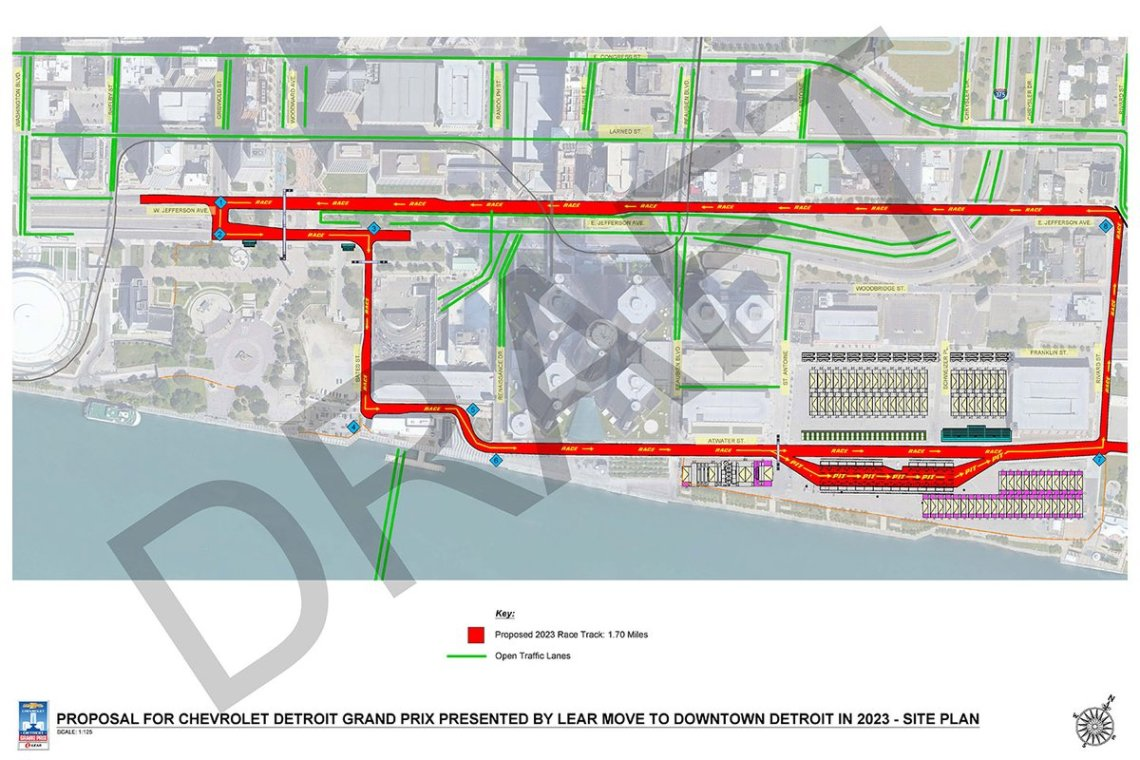 Detroit downtown proposed 2023 track