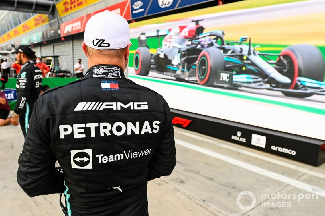 Pole man Valtteri Bottas, Mercedes, in Parc Ferme after Qualifying