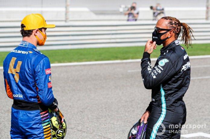 Lewis Hamilton, Mercedes dhe Lando Norris, McLaren