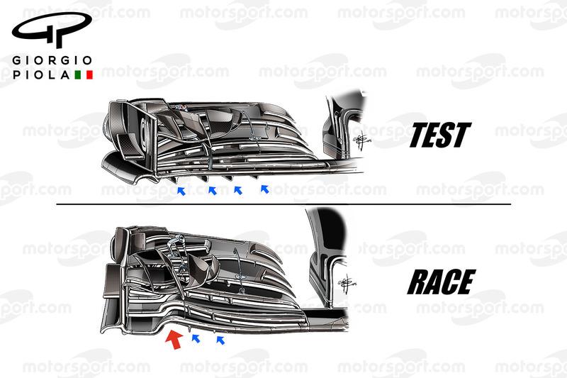 McLaren MP4/31 front wings comparison, captioned, United