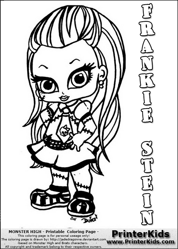 monster high frankie stein coloring page with frankie