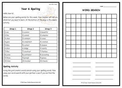 Year 6 Weekly Spelling Pack 2