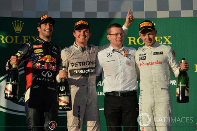 Podium: second place Daniel Ricciardo, Red Bull Racing, Race winner Nico Rosberg, Mercedes AMG F1, Andy Cowell (GBR) Managing Director, Mercedes AMG High Performance Powertrains, third place Kevin Magnussen, McLaren