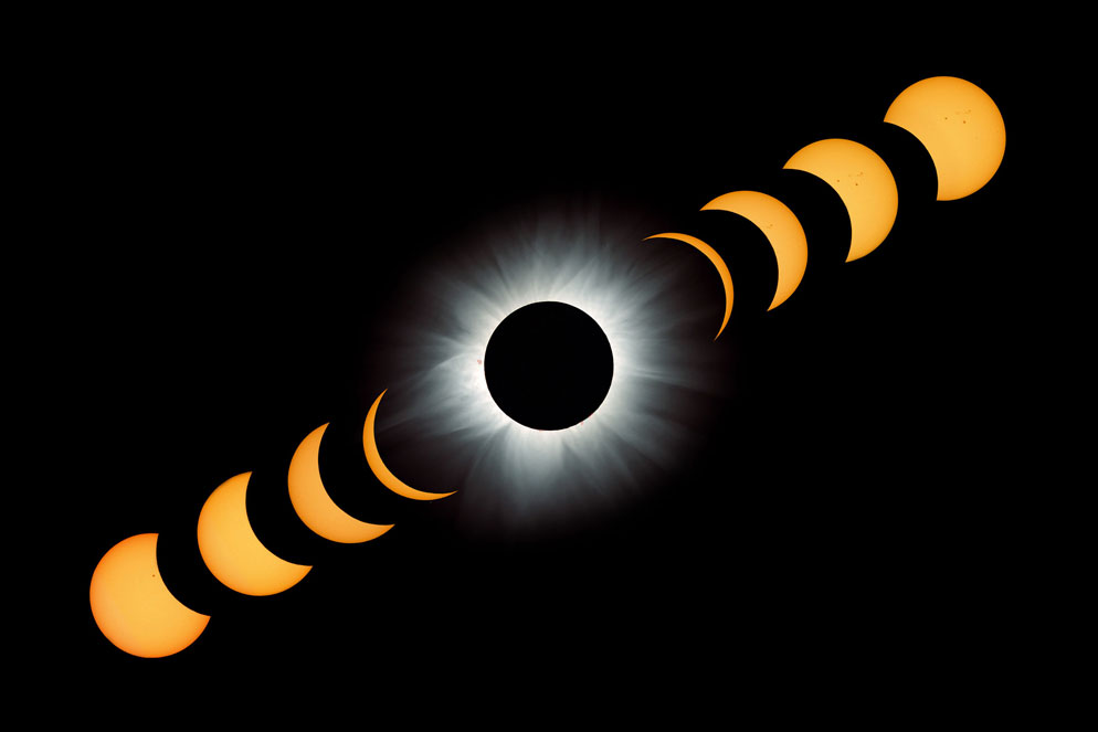 Fred Espenak composite of phases of 2001 solar eclipse