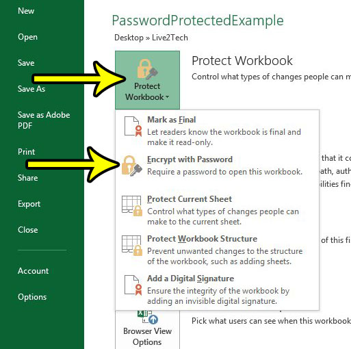 How to Require a Password to View a Workbook in Excel 2013 - Live2Tech