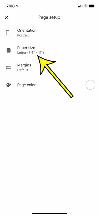 How to Change Paper Size in the Google Docs iPhone App