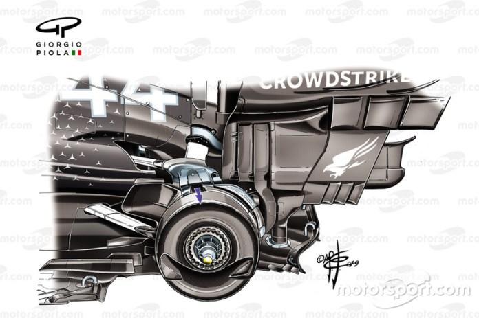 Mercedes AMG F1 W10 rear brakes drum detail