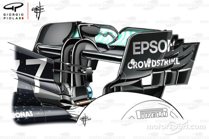 Mercedes AMG F1 W10 rear wing detail