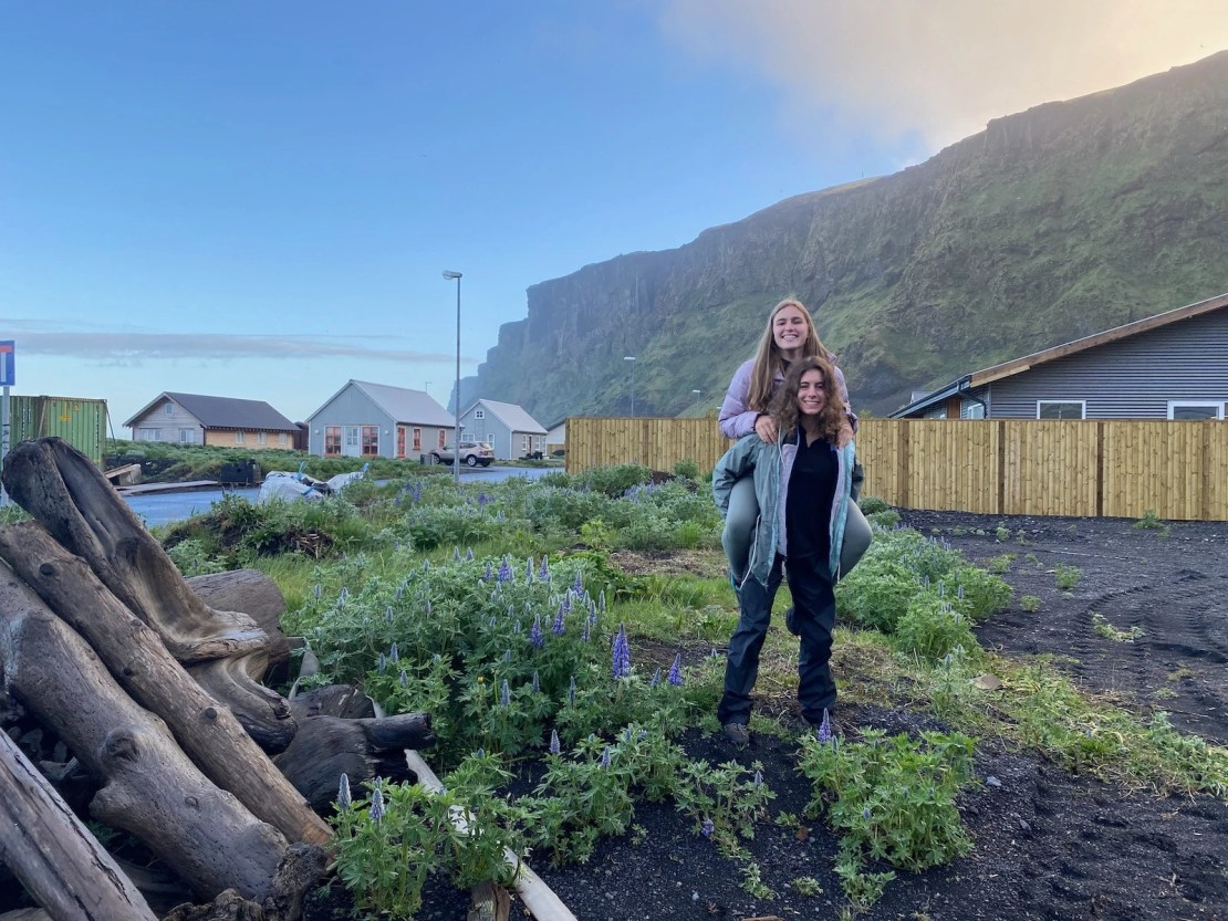 Sisters posing in an abandoned lot in Iceland.