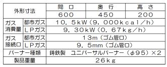 マルゼン ガステーブルコンロ NEWパワークックシリーズRGC-064C