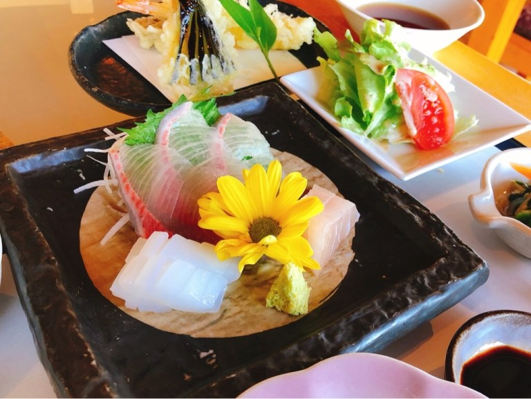 風の彩「彩り御膳」のお刺身の盛り合わせ