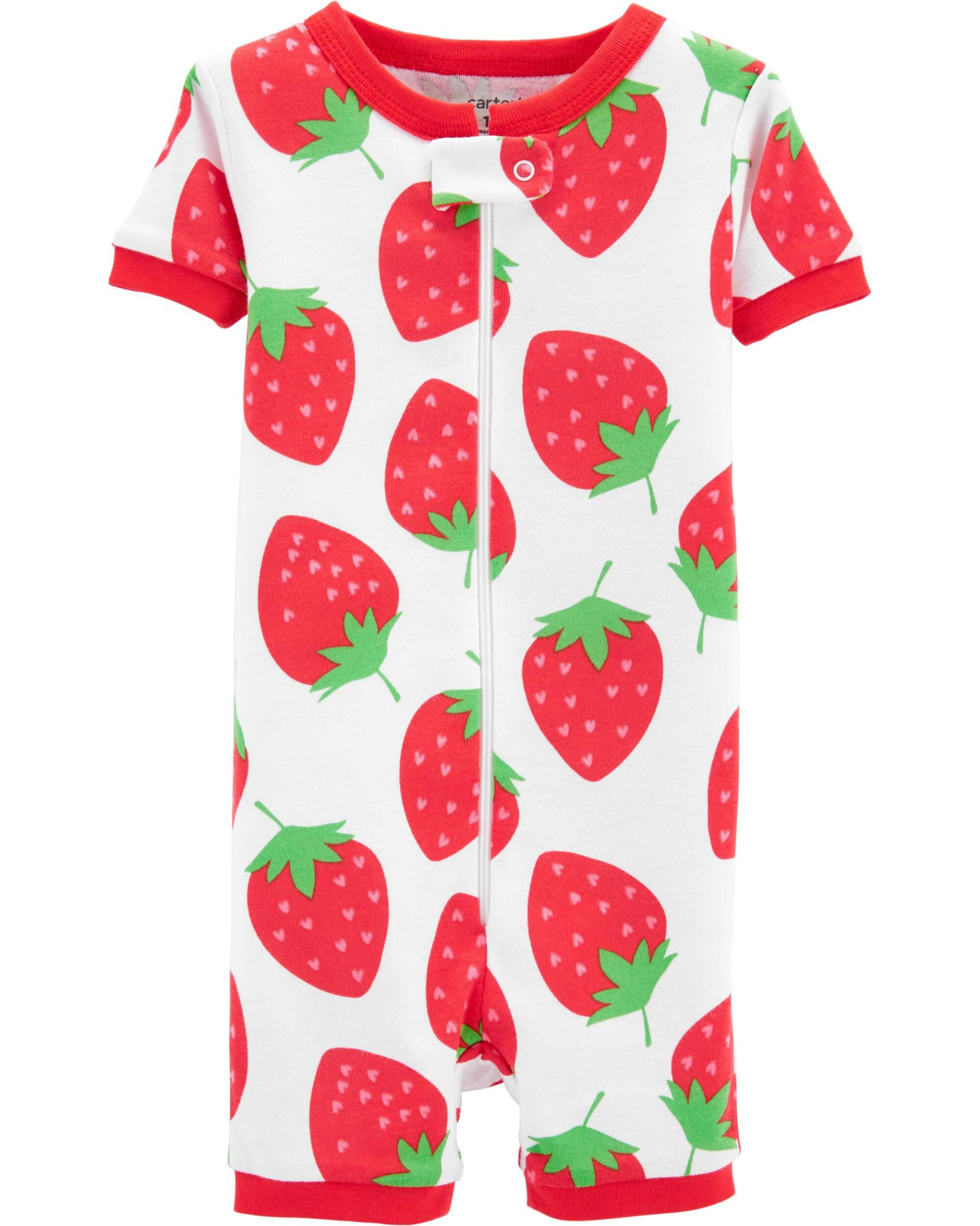1-Piece Strawberry Snug Fit Cotton Sleep Romper